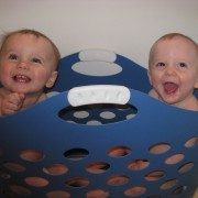Matt and Ann Marie&#039;s twins on laundry day