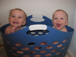 Matt and Ann Marie's twins on laundry day